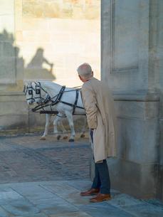 Senior man in raincoat peering around corner at carriage horses, Copenhagen, Hovedstaden, Denmarkの写真素材 [FYI03621097]