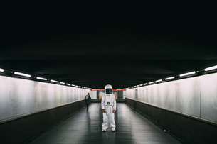 Astronaut on covered bridgeの写真素材 [FYI03621371]