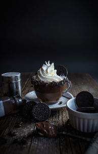 Cup of chocolate pudding with cream, chocolate cookiesの写真素材 [FYI03622493]