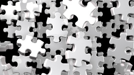 White Jigsaw Puzzle On Black Backgroundのイラスト素材 [FYI03622591]