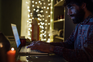 Bearded young man using laptop at homeの写真素材 [FYI03623214]