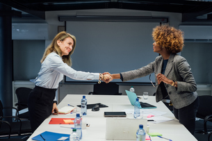 Business partners shaking hands at meeting in officeの写真素材 [FYI03623472]