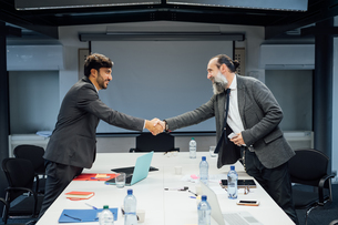 Business partners shaking hands at meeting in officeの写真素材 [FYI03623480]