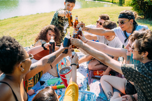 Group of friends relaxing, toasting soft drinks at picnic in parkの写真素材 [FYI03623687]