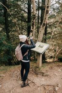 Woman photographing information board, Trossachs National Park, Canadaの写真素材 [FYI03623851]