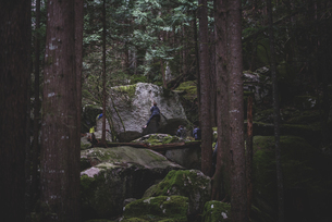Climber bouldering in forest, Squamish, Canadaの写真素材 [FYI03624572]