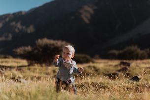 Baby exploring wilderness, Wanaka, Taranaki, New Zealandの写真素材 [FYI03624973]