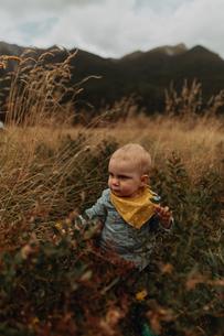 Baby exploring wilderness, Queenstown, Canterbury, New Zealandの写真素材 [FYI03625022]
