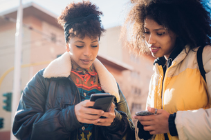 Two cool young women looking at smartphone on urban sidewalkの写真素材 [FYI03625578]