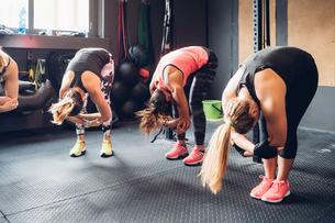 Women training in gym, bending forwardの写真素材 [FYI03625727]