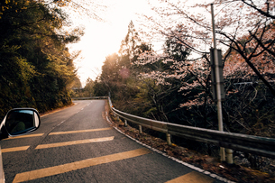 Car travelling on winding road, Tokushima-shi, Tokushima, Japanの写真素材 [FYI03626133]