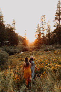 Two women in maxi dresses walking through wildflowers at sunset in rural valley, rear view, Mineralの写真素材 [FYI03626255]