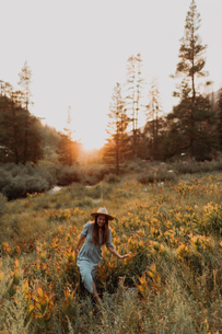 Young woman in maxi dress and stetson walking through wildflowers at sunset in rural valley, Mineralの写真素材 [FYI03626257]
