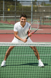 Tennis Player on court Ready to Play  front viewの写真素材 [FYI03626991]