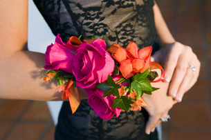 Teenage girl wearing corsage  close-up of flowersの写真素材 [FYI03627165]