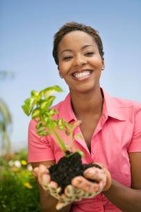Woman holding seedling in garden  (portrait)の写真素材 [FYI03627360]