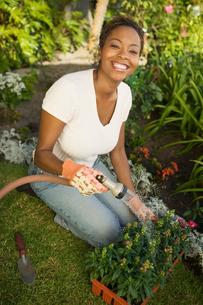Woman watering plants in garden  (elevated view)の写真素材 [FYI03627369]