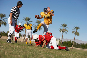 Football players in action on field  ground viewの写真素材 [FYI03627401]