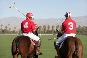 Polo Players holding polo sticks  mounted on polo poniesの写真素材 [FYI03627656]