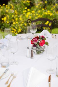 Dining table set in gardenの写真素材 [FYI03628029]
