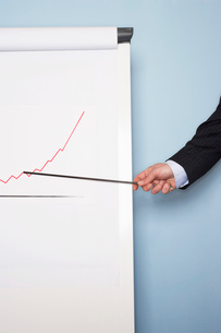 Businessman pointing at graph on easel  close-up of handの写真素材 [FYI03629264]