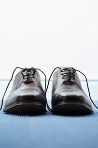 Pair of wing-tip shoes  front viewの写真素材 [FYI03629278]