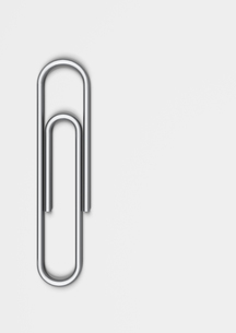 Paper clip on white backgroundの写真素材 [FYI03629796]