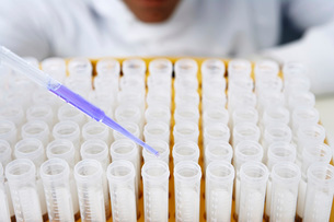 Lab worker adding blue liquid to test tubesの写真素材 [FYI03630300]