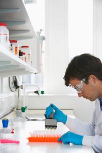 Lab Worker Processing Vialsの写真素材 [FYI03630308]