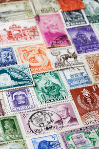 Variety of Postage Stamps  full frameの写真素材 [FYI03630694]