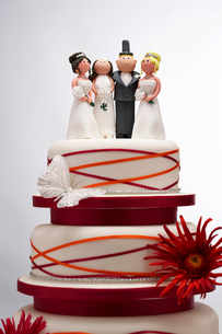 Wedding Cake with Funny Figurinesの写真素材 [FYI03630757]