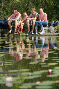 Group portrait of teenage girls and boys (16-17 years) sitの写真素材 [FYI03631641]