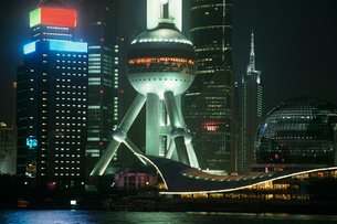 Pudong Oriental Pearl Tower at night in Shanghai  Chinaの写真素材 [FYI03632246]