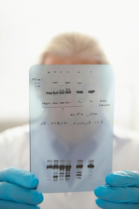 Scientist looking at DNA test results indoors  focus on reの写真素材 [FYI03633368]