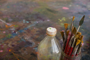 Artist's Paint Brushes and Bottle by Paletteの写真素材 [FYI03633756]