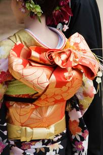 Japanese Woman in Kimono and Elaborate Obiの写真素材 [FYI03633908]