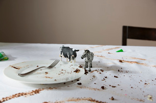 Animal figurines on messy tableの写真素材 [FYI03634003]
