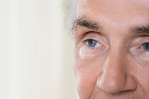 Senior Man close up of eyes and faceの写真素材 [FYI03634410]