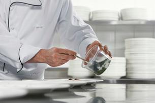 Chefs preparing salad in kitchen  mid sectionの写真素材 [FYI03635516]