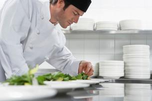 Male chef preparing salad in kitchenの写真素材 [FYI03635519]