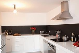 Minimalist kitchen with bare lightの写真素材 [FYI03635860]