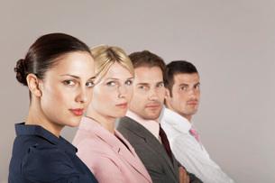Businesswomen and businessmen in a row  portraitの写真素材 [FYI03636441]