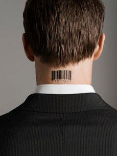 Young man with bar code tattoo on his neck  back viewの写真素材 [FYI03637426]