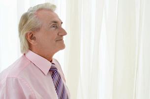 Senior Man in studio  head and shoulders  profileの写真素材 [FYI03637438]