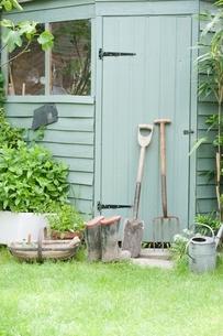 Gardening tools lean against door of potting shedの写真素材 [FYI03637668]