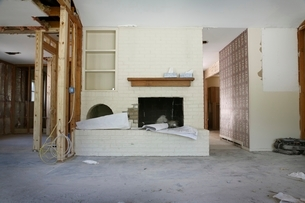 Brick fireplace and shelving in house renovation  Houstonの写真素材 [FYI03637738]