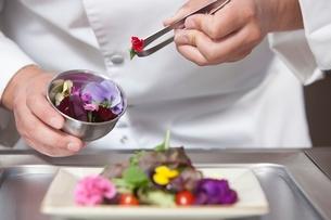 Mid- adult chef arranges edible flowers on saladの写真素材 [FYI03637785]