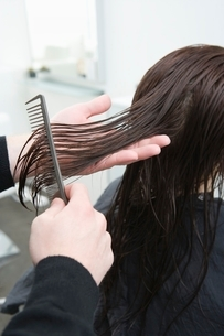 Wet hair is combed out in hair salonの写真素材 [FYI03637847]