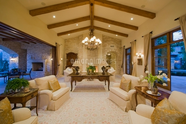 Living room interior with furniture and exterior views ofの写真素材 [FYI03638011]