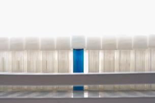 Blue test tube amongst empty test tubesの写真素材 [FYI03638491]